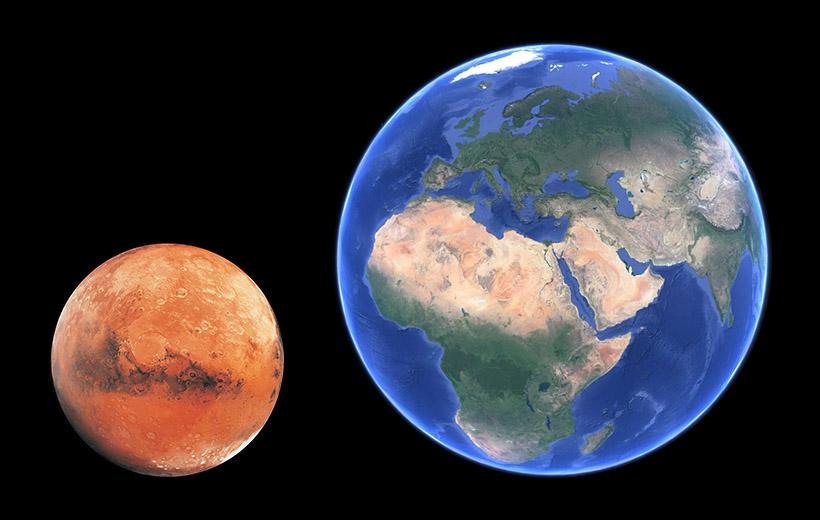 اندازه ی مریخ